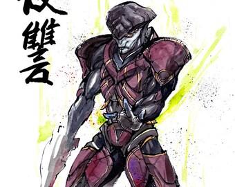 8x10 PRINT Mass Effect  JAVIK Japanese Calligraphy Vengeance Revenge