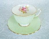 RESERVED Antique Aynsley Tea Cup Set in Pastel Mint Green, Vintage English Teacup and Saucer, Mint Green Bone China Tea Set