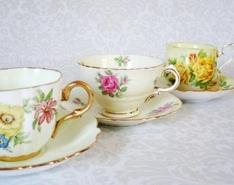 Tea Cups and Saucers 3 Sets  /  Pastel Yellow Spring Bone China Teacups  / Vintage Teacup and Saucer Sets / Wedding Bridal Gifts for Her