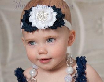 Baby Headbands, Nautical baby headband, Navy Blue and white Baby girl Headband,Shabby chic Headband,Newborn Headband, Girls Headbands. #71