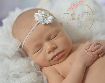 CHOOSE COLOR Newborn Headband, baby headbands,white baby headband, pink baby headband, Infant headband, Baptims headband, Easter Headband.