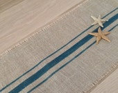 Burlap Nautical Table Runner Deep Aqua Striped Cotton Jute Tablerunner 12x72 by sweetjanesplan