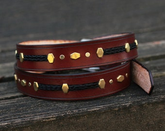 Horse Hair and Leather Belt With Solid Brass Accents and Antique Brass Buckle - Braided Horsehair