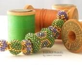 Beaded Beads set of 7 - by Sharri Moroshok - purple green gold