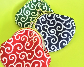 Small Handmade Coin Purse - Traditional japan Pattern in Red/Green/Blue