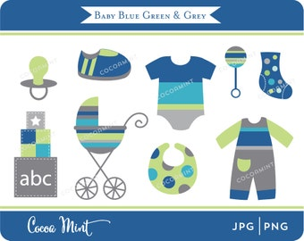 Baby Blue Green and Grey Clip Art