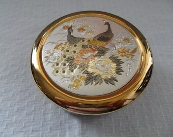 Vintage Japanese Art of Chokin Covered Jewelry Dish