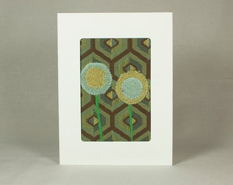 Quilt Greeting Card - Fabric Card - Green and Blue - Linden Green - Deep Lichen Green - Pale Blue - Carafe