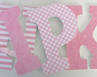 Custom Wooden Letters - Light Pink Nursery - Girl Bedroom - Hanging Baby Name Letters - Pink Wall Art - Pink Decorations - Wood Letter Decor