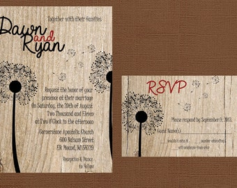 Rustic Wedding Invitation, Dandelion Wedding Invitation, Wood Wedding Invitation, Custom Wedding Invitation