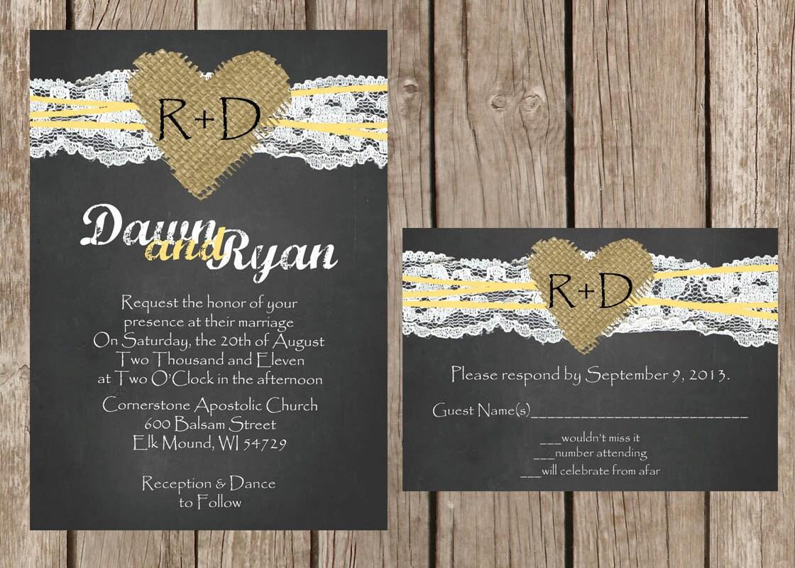 Chalkboard Wedding Invitations: Chalkboard Wedding Invitation Rustic Wedding Invitation Lace