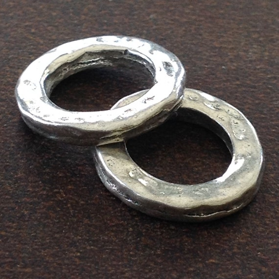 2 sterling silver artisan hammered rings small circle