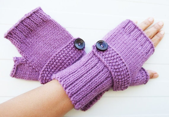Purple Knit Fingerless Mittens in Wool Alpaca Available in 20 Shades