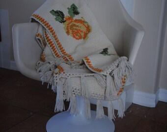Vintage Afgan blanket, Granny, Rose, Throw Blanket, Crochet