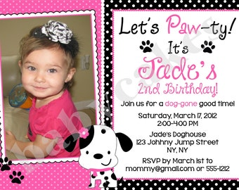 Puppy Birthday Invitation Dalmation party - DIY Print Your Own - Matching Party Printables available
