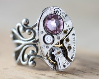 Steampunk Ring Steampunk Jewelry Purple Statement Ring Unique Ring Watch Ring - Vintage June Birthstone Purple Swarovski Crystals Adjustable