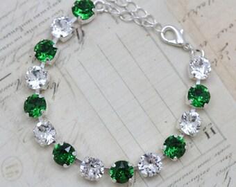 Green Bracelet Swarovski Crystals Bridesmaids Jewelry Silver Adjustable Wedding