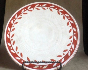 Cake Plate, hand painted, bold graphic Design, Japanese, Red and White, serving Platter