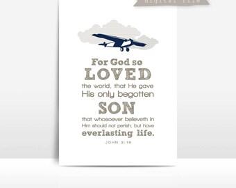 JOHN 3:16 Airplane print {God So Loved the World}