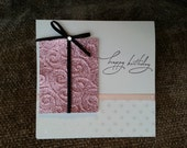 Happy Birthday Pink Glittery Present Card
