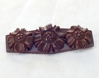 Vintage Hand Carved Brown Bakelite Flower or Daisy Pin