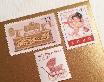 Posts 10 Party Baby themed postage - Congratulations little baby girl unused postage stamps