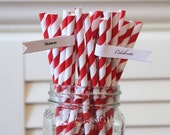 24 Red Paper Straws, Red Striped Paper Straws, Wedding Paper Straws, Table Setting, Baby Shower Deocrations, Birthday Party Made in USA