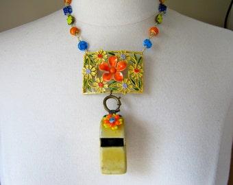 Statement Necklace, Reclaimed, Vintage Brooch, Enamel Flower, Flower Power, Yellow, Orange, Blue, Jennifer Jones, OOAK - Whistle Stop