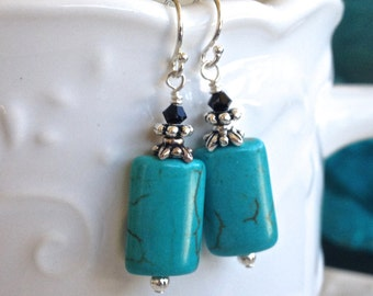 Small Turquoise Blue Howlite Crystal Earrings in Silver