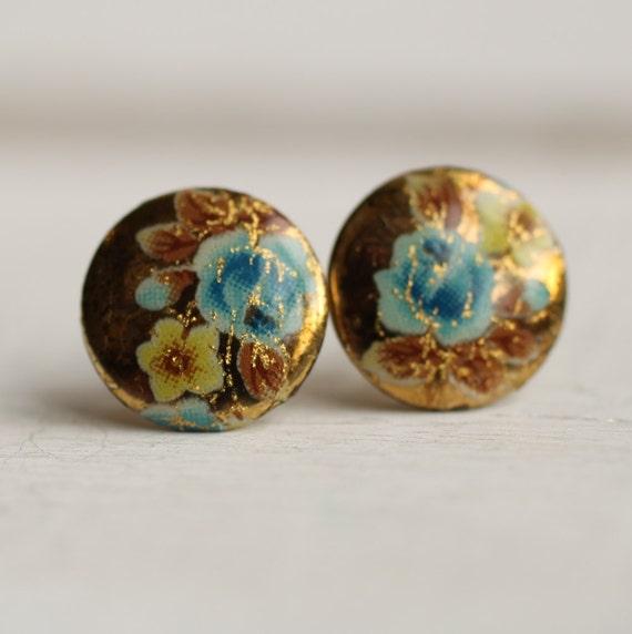Blue Rose Earrings ... Floral Vintage Cornflower Flower Japanese Stud Post Earrings