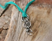 Green Necklace, Silver Spiral Necklace, Modern Silver Necklace,