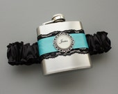 Wedding GARTER FLASK - Black & Diamond Blue (other colors available) - Garter with Flask for Bride or Bridesmaids - Bachelorette Gift