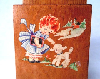 Knife Holder Wood Stand with Mary Had A Little Lamb Decal Vintage 50s