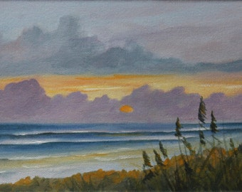 "Original Acrylic on Canvas Seascape Sun Rise Painting  art""Morning Has Broken"" 6 X 12"