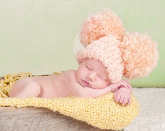 Adorable Peach Double Pom Pom Hat