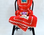 Hand Knit Granny Square Blanket Large Rose Pattern Woven Red Yellow Blue Pink Green Crochet Afghan Cabin Country Farmhouse
