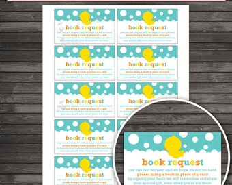 Rubber Ducky Baby Shower Book Request Card Printable - Instant Download - Rubber Duckie Baby Shower Please Bring a Book  Neutral Baby Shower