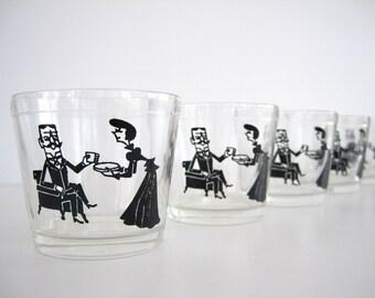 Vintage Juice Glass Set 6 Barware Double Shot Glass Sour Cream Glasses Hazel Atlas Promotional Bachelorette Party
