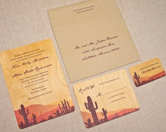 Real Wood Wedding Invitations - Desert Sunset