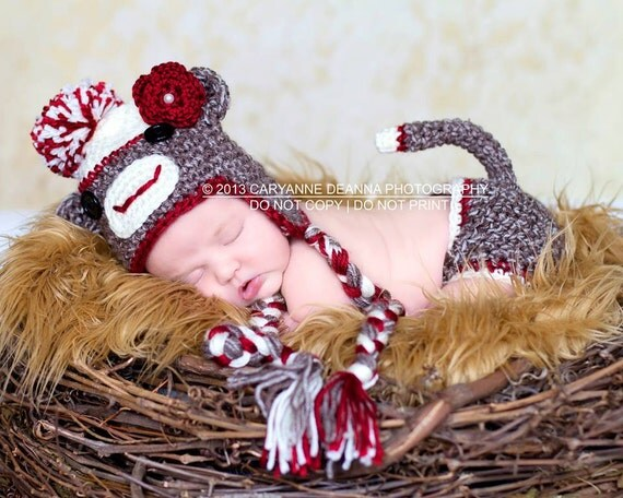 Sock Monkey Hat, Diaper Cover, Halloween, Newborn Photo Prop, Brown Yarn, Red Accent, Happy Face, Pom Pom, Button Eyes, Ears, Stuffed Tail