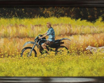 Motorcycle Dog, Open Meadow original landscape painting