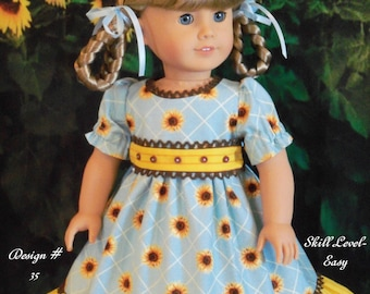 "PDF SEWING PATTERN  / Sunflower Farm / Sewing Pattern for American Girl® Kirsten, Marie Grace, Cecile, Caroline or other 18"" Dolls"