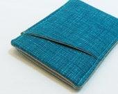 Thin wallet - sleek card case - modern wallet - pocket wallet - teal wallet - blue card case - minimalist wallet - card pouch