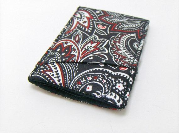 Mens Thin Wallet  / Pocket wallet / Diagonal Pocket  / Wallet / Black Paisley