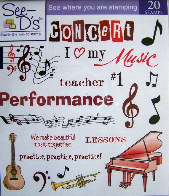 Let S Make Music Unmounted Rubber Stamp Set By See D S