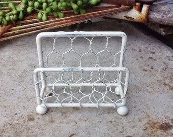 Business Card Holder -Creamy Ivory White Chicken Wire Office Decor-Card Holder Craft Room-Cottage Chic-Rustic Chicken Wire Home Decor