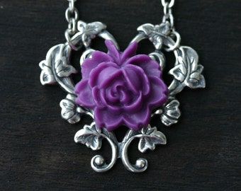 Purple Rose Necklace - Pastel Goth