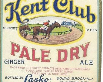 Kent Club Pale Dry Ginger Ale Vintage Label, 1940s
