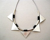 Statement Necklace-Silver, Leather, Geometric, Gift Idea, For Her