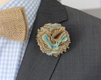 Burlap wedding boutonniere, groomsmen lapel flower, burlap lapel pin, 2 inch carnation, rustic burlap boutonniere, mint green boutonniere